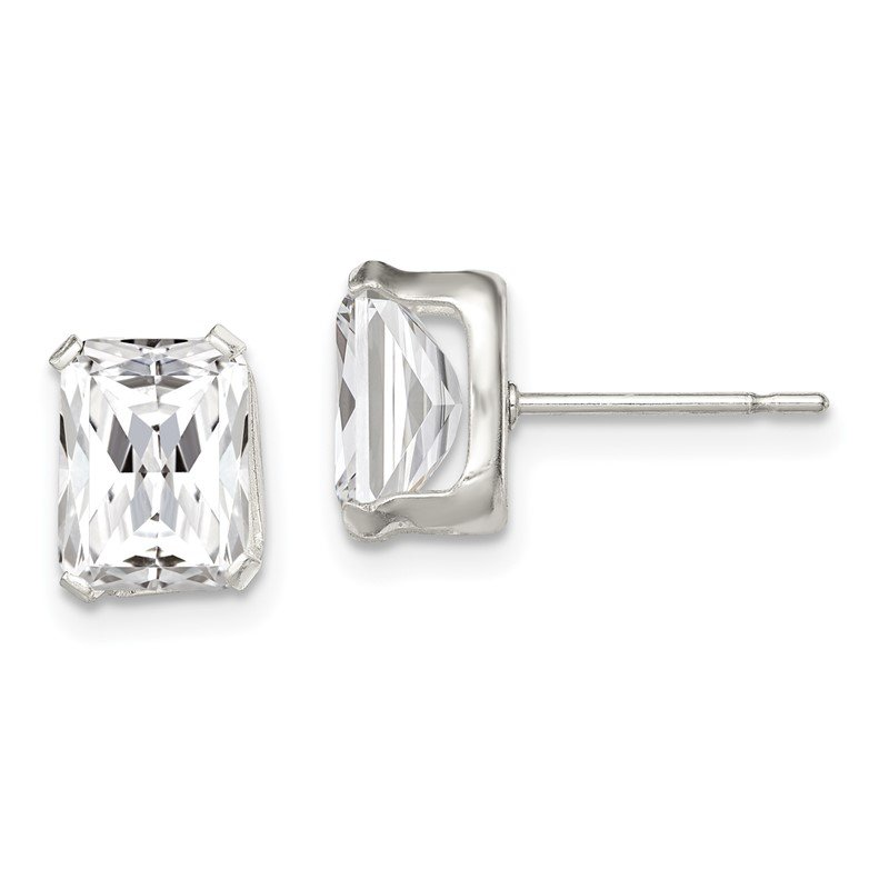 Quality Gold Sterling Silver Emerald-cut 8x6 Basket Set CZ Stud Earrings