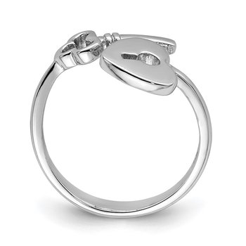 Sterling Silver Rhodium-plated Heart Lock & Key Toe Ring