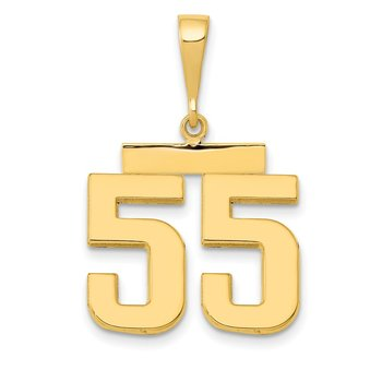 14k Medium Polished Number 55 Charm