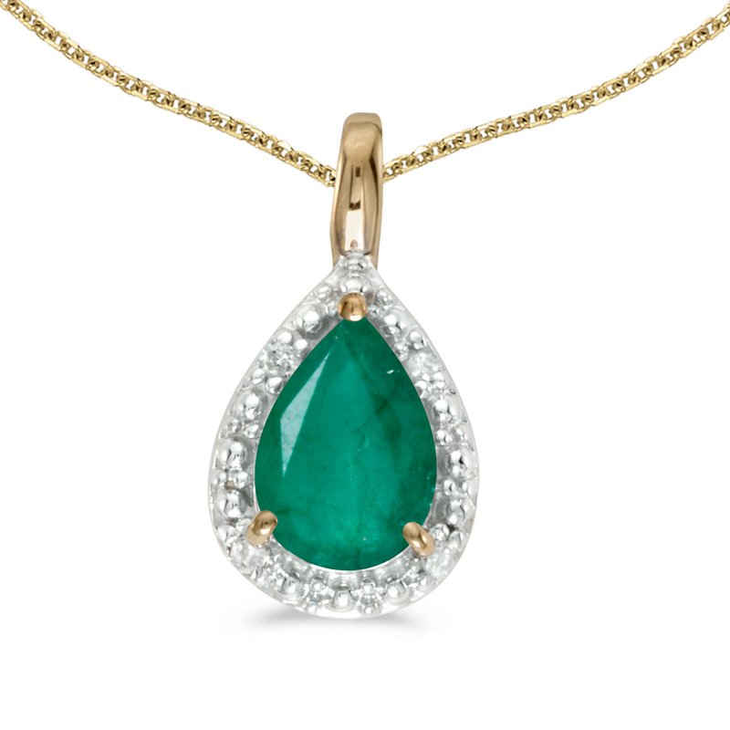 Color Merchants 14k Yellow Gold Pear Emerald Pendant