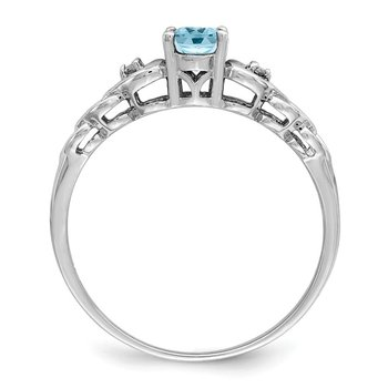 Sterling Silver Rhodium-plated Swiss Blue Topaz & Diam. Ring