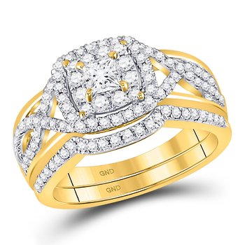 14kt Yellow Gold Womens Princess Diamond Bridal Wedding Engagement Ring Band Set 7/8 Cttw
