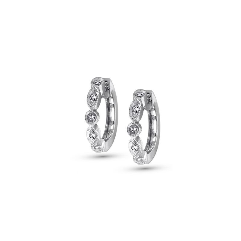 KC Designs Diamond Mini Hoop Earrings in 14k White Gold with 10 Diamonds weighing .12ct tw.