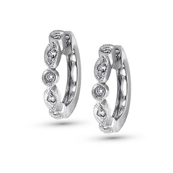 Diamond Mini Hoop Earrings in 14k White Gold with 10 Diamonds weighing .12ct tw.