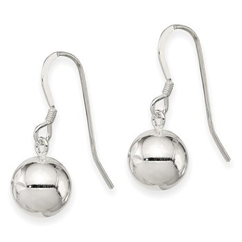 Sterling Silver 10mm Diamond Cut Bead Dangle Earrings