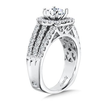Luxury Collection Halo Diamond Engagement Ring with Side Stones in 14K White Gold with Platinum Head (1ct. tw.)