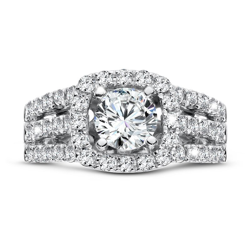Caro74 Luxury Collection Halo Diamond Engagement Ring with Side Stones in 14K White Gold with Platinum Head (1ct. tw.)