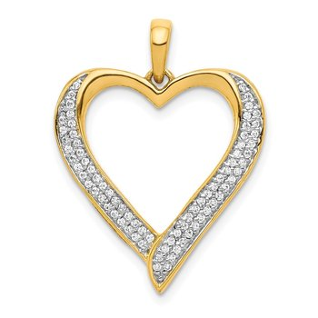 14k and Rhodium 1/4ct. Diamond Heart Pendant