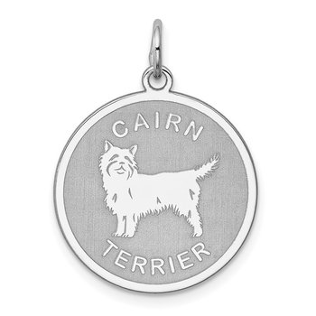 Sterling Silver Rhodium-plated Cairn Terrier Charm