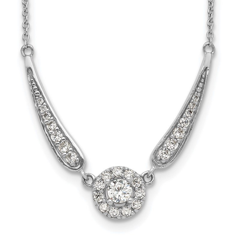 Quality Gold Sterling Silver Rhodium Plated CZ Necklace