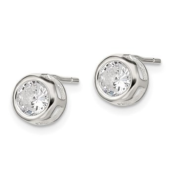 Sterling Silver Bezel 7mm CZ Post Earrings