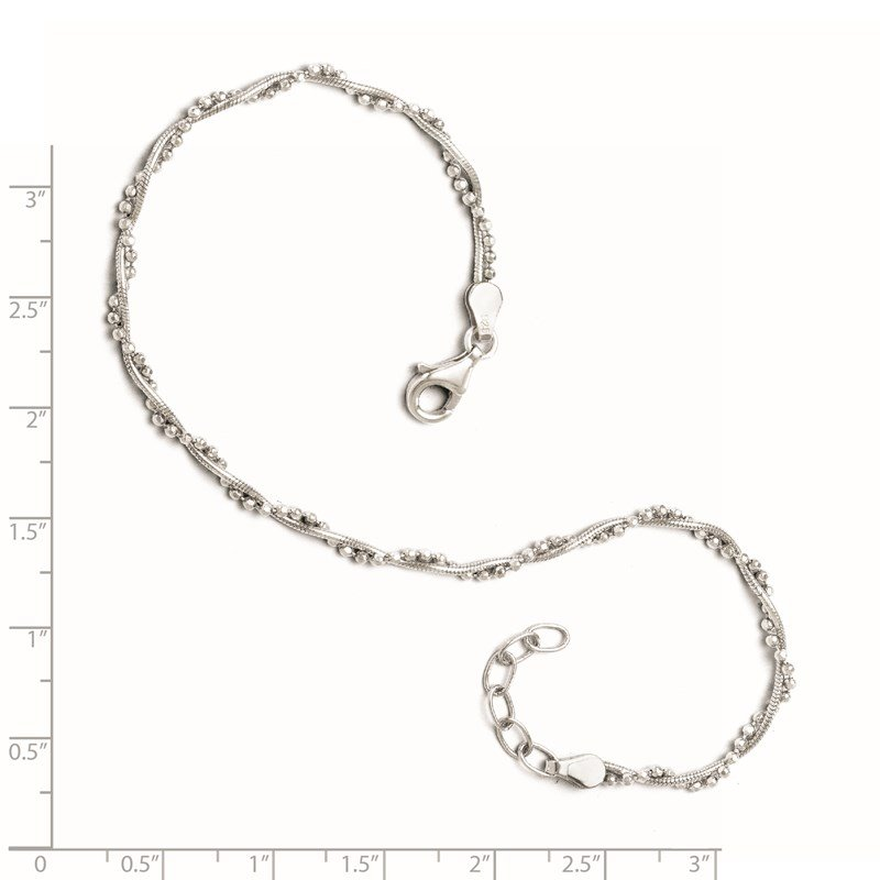 Leslie's Leslie's Sterling Silver Adjustable 9-10 Anklet