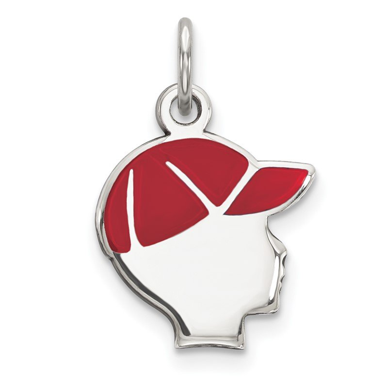 Quality Gold Sterling Silver Rhod-plate Red Enamel Right Facing Boy Head Disc Charm