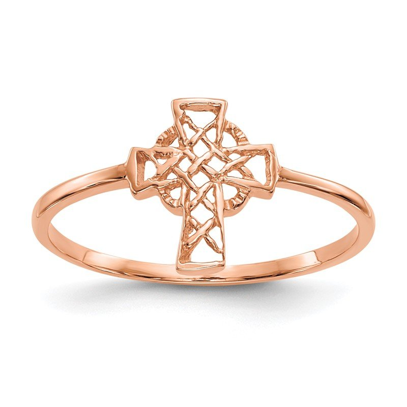 Quality Gold 14k Rose Gold Polished Celtic Cross Ring