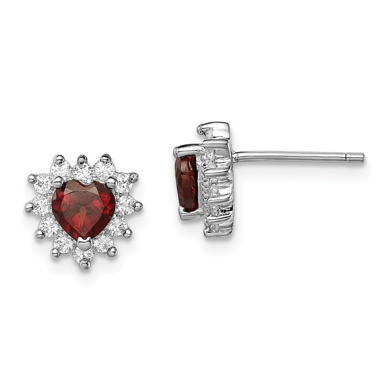 Quality Gold Sterling Silver Garnet and CZ Heart Earrings