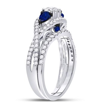 14kt White Gold Womens Round Diamond Blue Sapphire Bridal Wedding Ring Set 1-3/8 Cttw