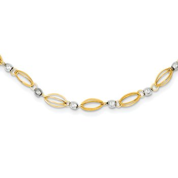 14K Two-Tone Fancy Mirror Bead Necklace