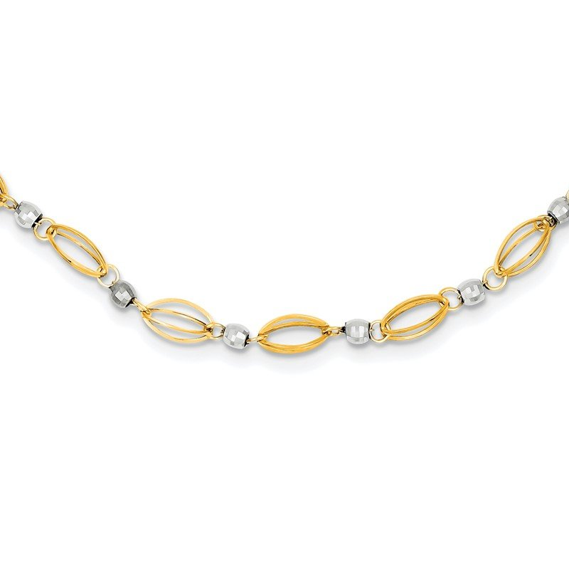Quality Gold 14K Two-Tone Fancy Mirror Bead Necklace