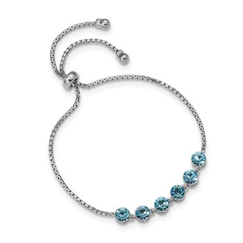 Sterling Silver Rhodium-plated Blue Crystal Adjustable Bracelet