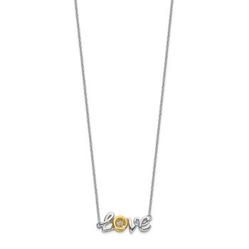 14k Two-tone LOVE Moving Diamond 18in Necklace