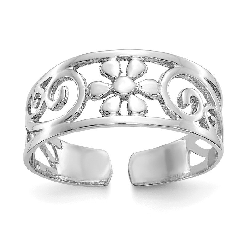 Quality Gold 14k White Gold Floral Toe Ring