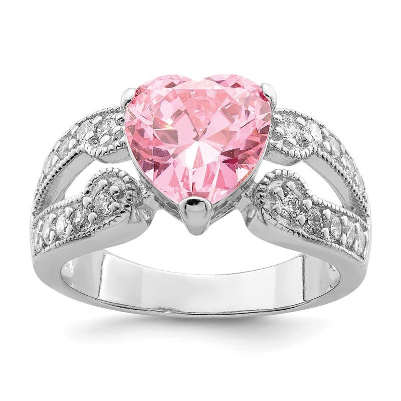 Quality Gold Sterling Silver Rhodium plated 10mm Clear CZ and Pink Heart CZ Ring