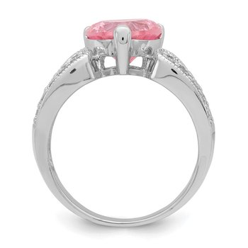 Sterling Silver Rhodium plated 10mm Clear CZ and Pink Heart CZ Ring