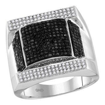 10kt White Gold Mens Round Black Color Enhanced Diamond Domed Rectangle Cluster Ring 1.00 Cttw