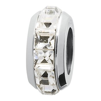 316L stainless steel and white Swarovski® Elements crystals