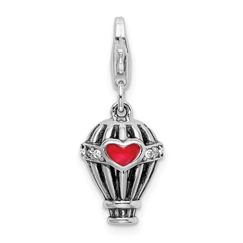 SS RH Swarovski Enameled Hot Air Balloon w/Lobster Clasp Charm