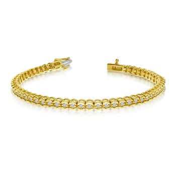 14k Yellow Gold Diamond Setback Bracelet