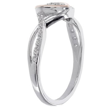 Rose-plated Sterling Silver 1/10ct Diamond Heart Promise Ring