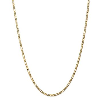 14k 3mm Flat Figaro Chain