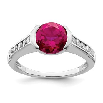 Sterling Silver Rhodium-plated Synthetic Ruby & CZ Bezel Ring