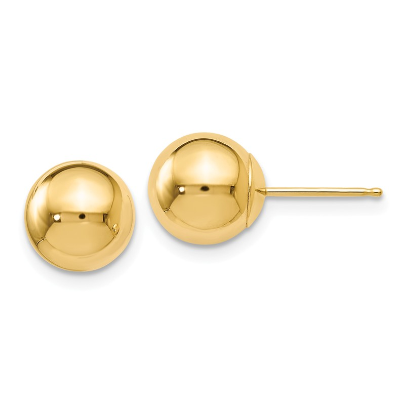 14k White Gold Polished 8mm Ball Post Earrings