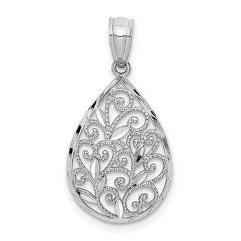 14k White Gold Polish/Textured Small Filigree Teardrop Pendant