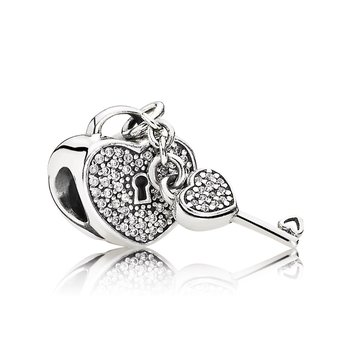 Lock Of Love Charm, Clear CZ
