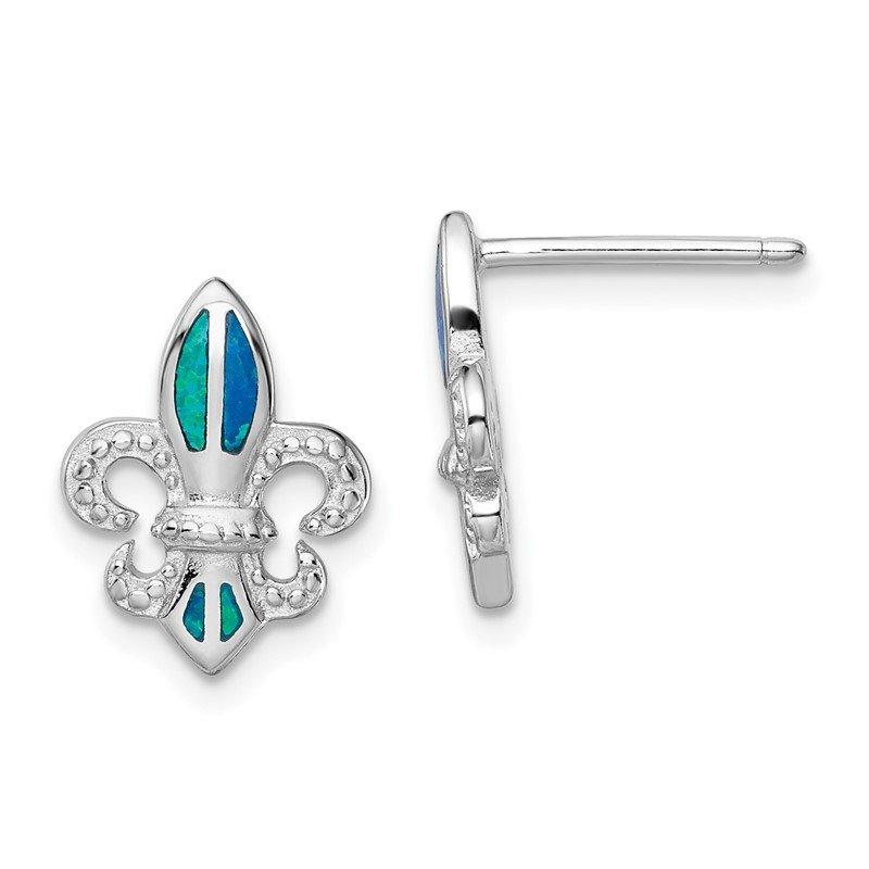 Quality Gold Sterling Silver Rhodium-plated Blue Created Opal Fleur De Lis Earrings