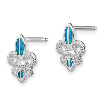 Sterling Silver Rhodium-plated Blue Created Opal Fleur De Lis Earrings