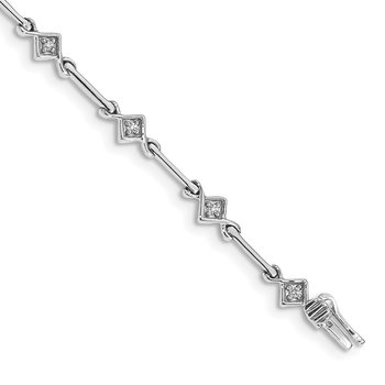 14k White Gold Diamond 7.5in Link Bracelet