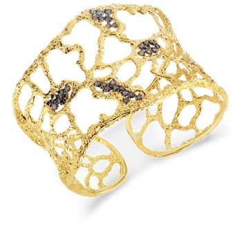 18Kt Gold Cuff With Brown Diamonds