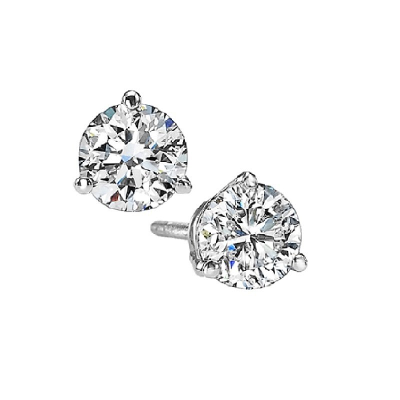 Gems One Martini Diamond Stud Earrings in 14K White Gold (1/2 ct. tw.) SI3 - G/H