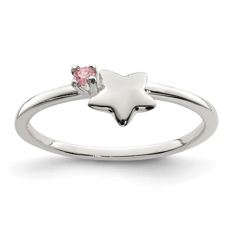Quality Gold Sterling Silver Pink CZ Star Kid's Ring
