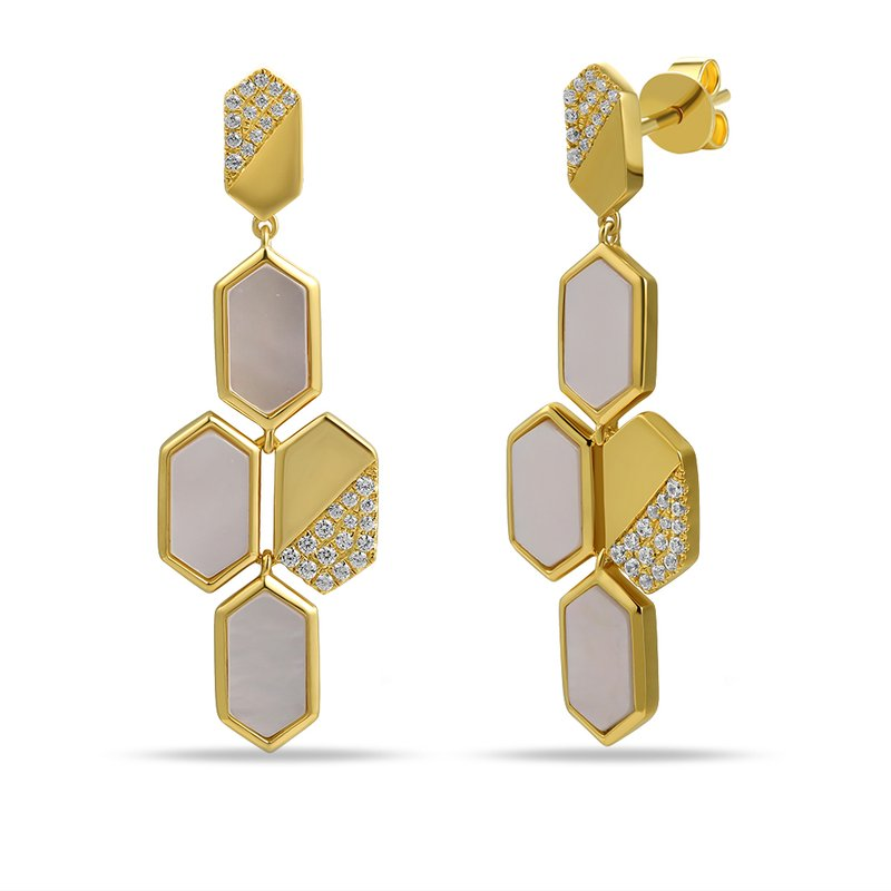 Shula NY 14K art deco hexagon shape design earrings with 60 diamonds 0.22ct & 6 white agate 3.02ct