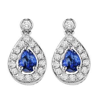 14K White Gold Color Ensembles Halo Prong Sapphire Earrings 1/6CT