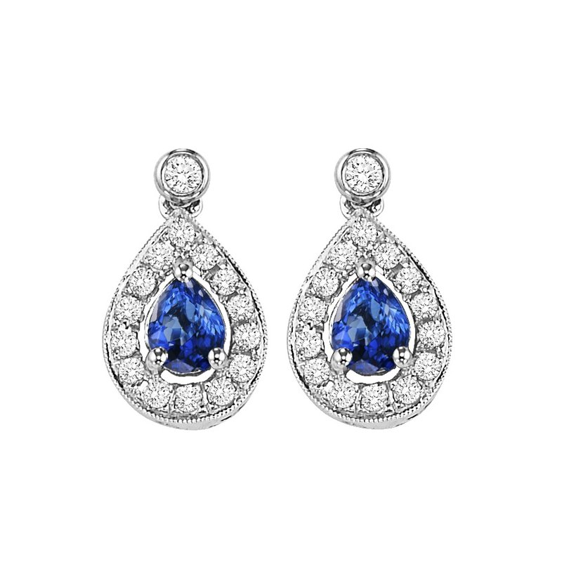 Gems One 14K White Gold Color Ensembles Halo Prong Sapphire Earrings 1/6CT