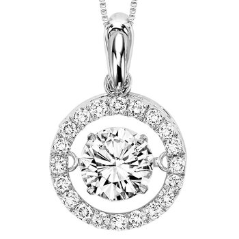 14K Diamond Rhythm Of Love Pendant 1 ctw (3/4 ct Center)
