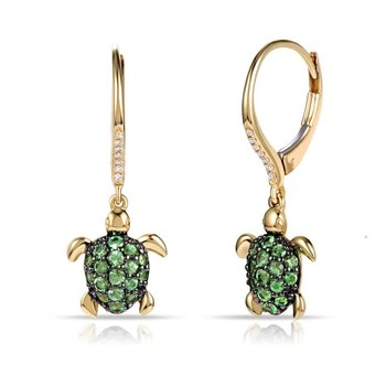 Fun Turtle earrings in 14K with  0.61C Green Garnet & 0.04C Diamonds with leaver back