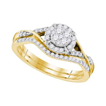 10kt Yellow Gold Womens Round Diamond Bridal Wedding Engagement Ring Band Set 3/8 Cttw