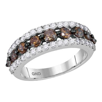 10kt White Gold Womens Round Cognac-brown Color Enhanced Diamond Band Ring 2.00 Cttw